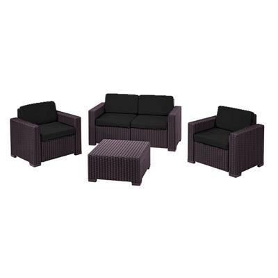 Gardenista Replacement 8 Piece Seat Pad Set for Keter Allibert California Patio Set - Black
