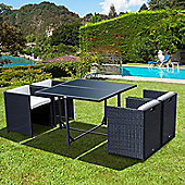 Outsunny 5pcs Garden Rattan Dining Set Patio Wicker Furniture w/ Cushions