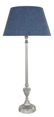 Nickel Candlestick Table Lamp With A 12 Inch Stonewash Blue Linen Shade