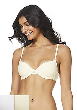 F&F 2 Pack of Pretty Everyday Lace Trim T-Shirt Bras - Yellow/White