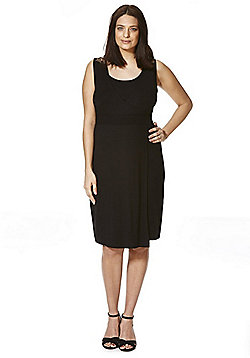 Mamalicious Lace Yoke Jersey Nursing Dress - Black