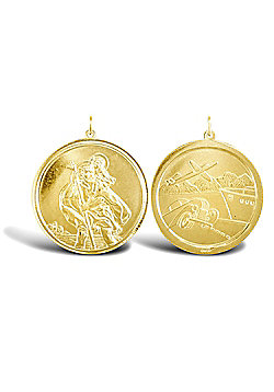 Solid 9ct Yellow Gold Double Sided St Christopher Medallion Pendant