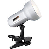 Matt Silver and Black Reflector Clip on Spot Light with Inline Switch