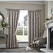 Curtina Palmero Scroll Taupe Thermal Backed Curtains 90x72 Inches (229x183cm)