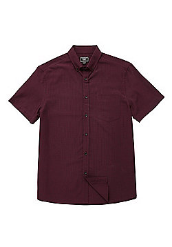 F&F Soft Touch Buffalo Check Short Sleeve Shirt - Wine