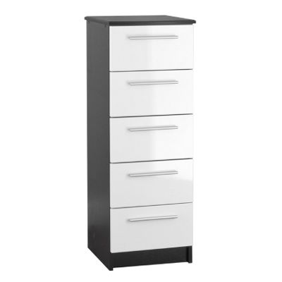 Chester 5 Drawer Chest of Drawers - White On Black