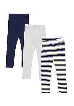 F&F 3 Pack of Plain and Striped Leggings - Multi