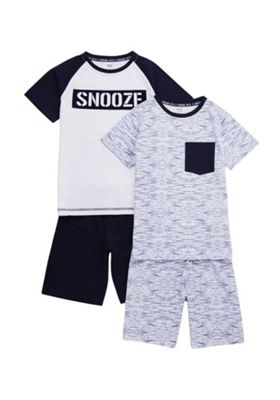 F&F 2 Pack of Snooze and Marl Pyjama Sets Navy/Blue 7-8 years