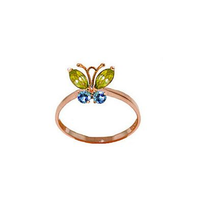 QP Jewellers Blue Topaz & Peridot Butterfly Ring in 14K Rose Gold - Size K 1/2