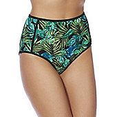 South Beach Palm Print High Waisted Bikini Briefs - Black & Green