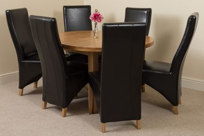 Edmonton Solid Oak Oval Extending 110 - 140 cm Dining Table with 6 Brown Lola Leather Dining Chairs