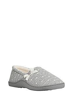 F&F Polka Dot Closed Back Slippers - Grey