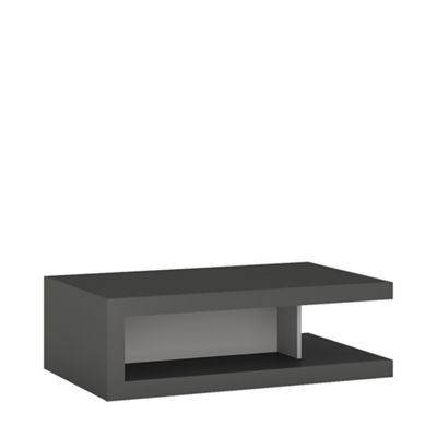 Lyon Designer Coffee Table On Wheels In Platinum Light Grey Gloss