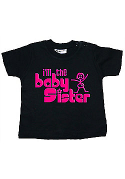 Dirty Fingers I'm the Baby Sister Baby T-shirt - Black