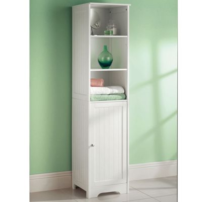 Wooden White Tall Boy Free Standing Bathroom Storage Cabinet Unit