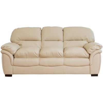 Sofa Collection Oklahoma Leather 3 Seat Sofa - Cream