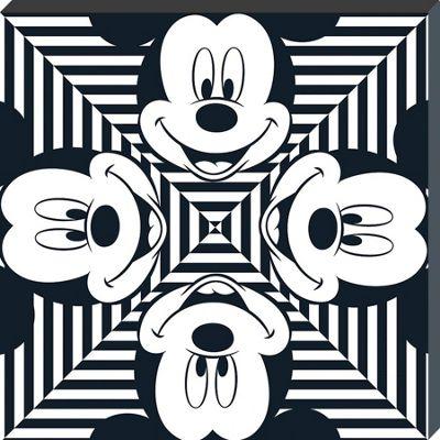 Mickey Mouse Stripe Squares Canvas Print 40 x 40 x 3.8cm