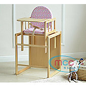 Baby Wooden High Chair With Play Table Cushion & Harness (Pink Det)