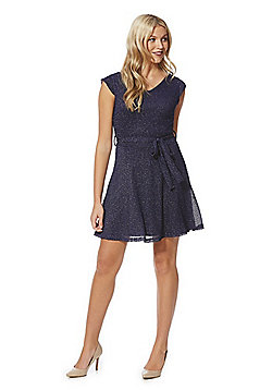 Mela London Metallic Knit Cap Sleeve Fit and Flare Dress - Navy