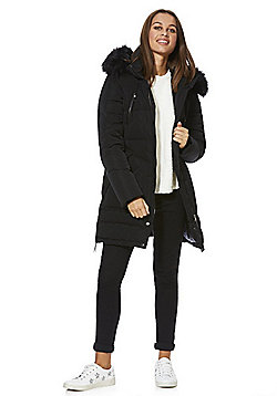 Only Faux Fur Trim Down Padded Coat - Black