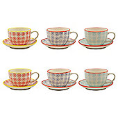Patterned Porcelain Cappuccino Cups and Saucers - 3 Swirl Designs - 250ml - Set of 6