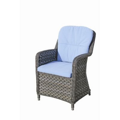 Bridgman Hertford Dining Armchair with Seat Cushion in Sky Blue / Silver Grey