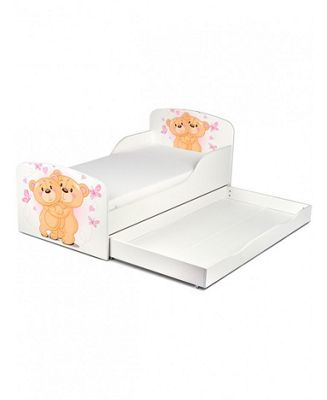 PriceRightHome Teddy Bear Hug Toddler Storage Bed & Deluxe Foam Mattress