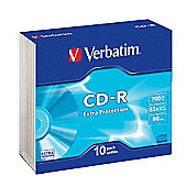 Verbatim CD-R 700MB 80 Minute 48x DataLife Extra Protection Slim Case (Pack of 10)