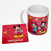 Mickey and Minnie Mouse Personalised Couples Mug & Coaster Set