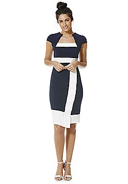 Feverfish Colour Block Bolero Dress - Navy & White