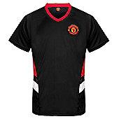 Manchester United FC Mens Poly T-Shirt - Black