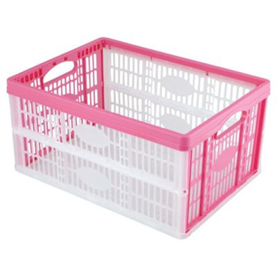 Tesco 32L Plastic Folding Crate, Pink
