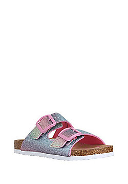 F&F Rainbow Glitter Moulded Footbed Sandals - Multi
