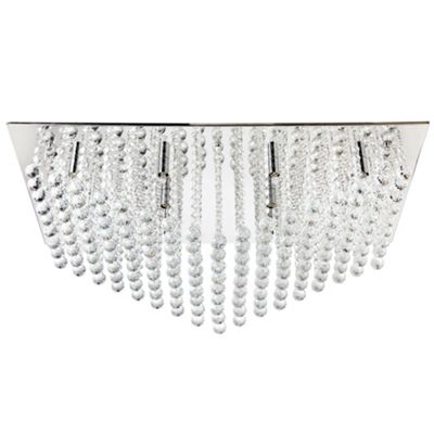 Litecraft Orbit 12 Bulb Flush Ceiling Light, Chrome