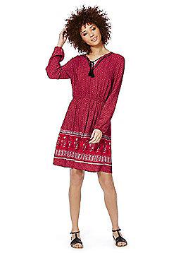F&F Paisley Print Tie Neck Dress - Red