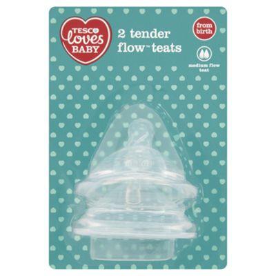 TESCO LOVES BABY TENDER FLOW TEATS MED FLOW x2