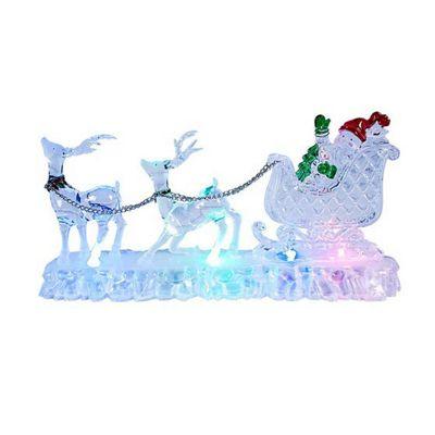 Acrylic LED Santa & Sleigh Christmas Ornament