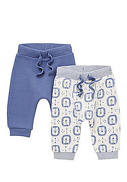 F&F 2 Pack of Lion Print and Plain Harem Joggers - Grey & Blue