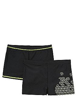 F&F 2 Pack of Neon Detail Swimming Trunks - Black