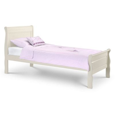 Happy Beds Amelia Wood Scroll Sleigh Bed with Pocket Spring Mattress - Stone White - 3ft Single