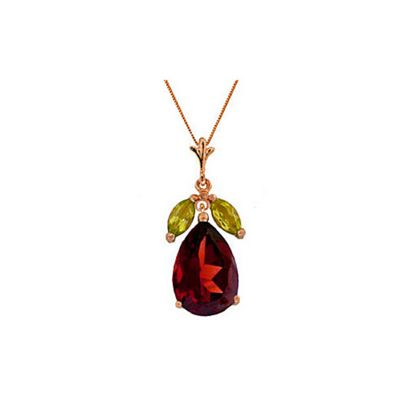 QP Jewellers 22in 0.52mm Pear Drop Necklace with Peridot & Garnet Pendant in 14K Rose Gold