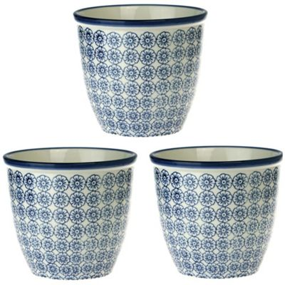Patterned Plant Pot. Porcelain Indoor / Outdoor Flower Pot - Blue Flower Print Design - Box of 3