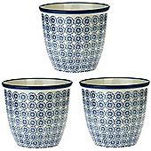 Patterned Plant Pot. Porcelain Indoor / Outdoor Flower Pot - Blue Flower Print Design - Box of 3