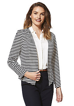 Only Striped Open Front Blazer - Navy & White