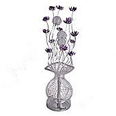 Aluminium Flower Floor Lamp, Silver & Purple
