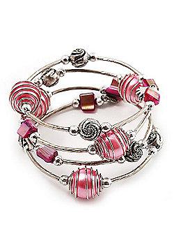 Silver-Tone Beaded Multistrand Flex Bracelet (Light Pink)