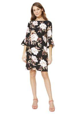 F&F Floral Print Bell Sleeve Dress Multi 10