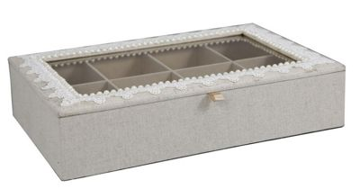 Cream And Ivory Lace Jewellery Storage Box With Glass Window