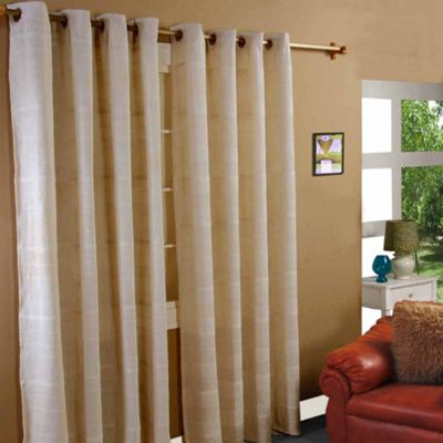 Homescapes Cotton Rajput Ribbed Natural Curtain Pair, 46 x 72