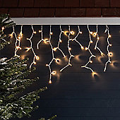 100 Golden Warm White LED Outdoor Connectable Icicle Lights